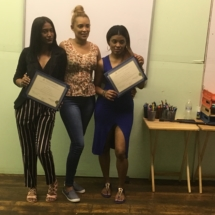 Yanelis A. (center) with September 2018 IHTC HHA Graduates, Winifer A (left), and Jeaneth A. (right)